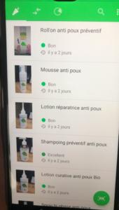 produit anti poux sur yuka